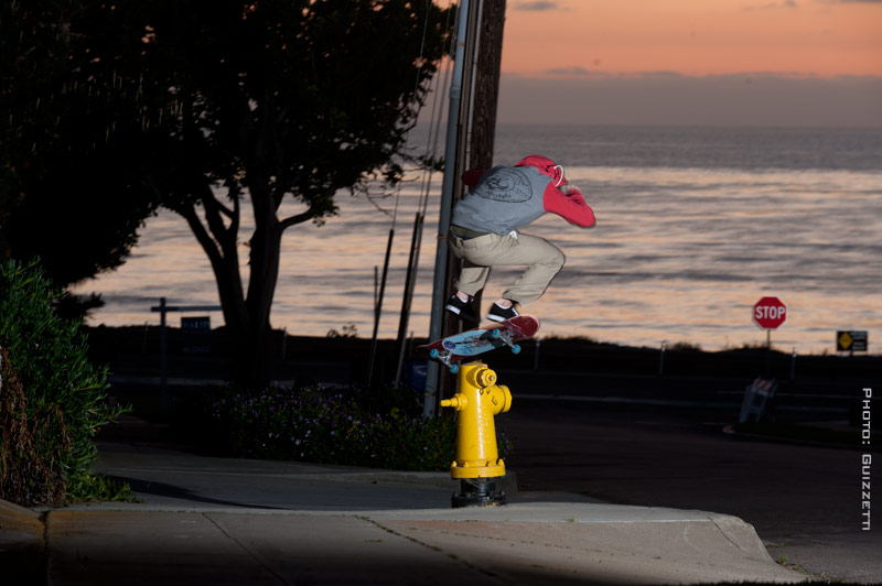 Paul Sewell Heelflipping a hydrant in SD