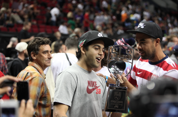 Paul Rodriguez and Eric Koston with the SLS trophy.