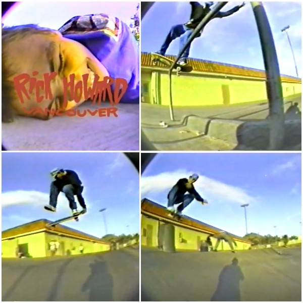 Rick Howard opened his part in Blockhead's Splendid Eye Torture (1989) and School Q. Front board from the bank, tailgrab one-foot the less skated hip, and front 180 the can into the bank.