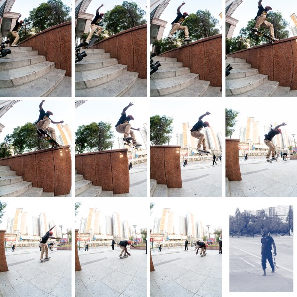 Marquise Henry, half-Cab crooked grind. (*click to enlarge)