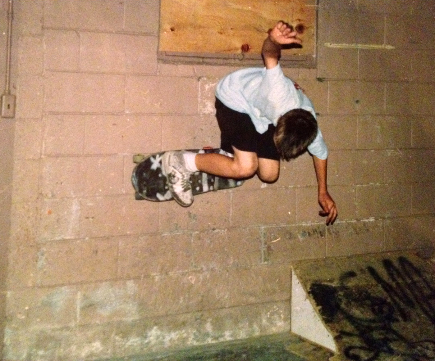 Dave barging a wallride in 1986. Chicago, IL.