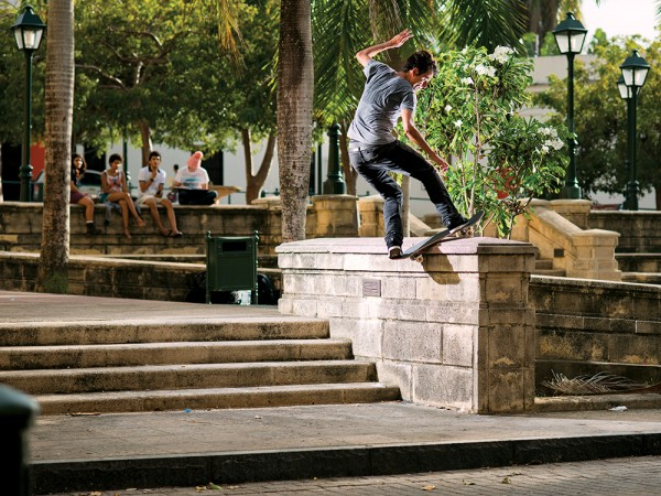 Cairo Foster, frontside boardslide gap to the street. (*click to enlarge)