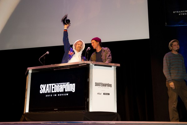 Jason Dill hoists the TWS trophy for Team of the Year: Fucking Awesome. Photo / GOULD