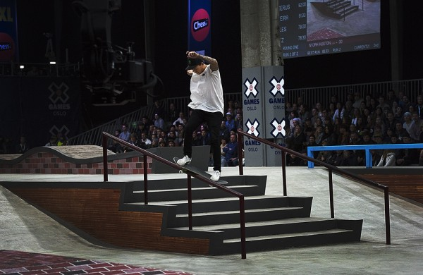 Winner of XGames Skateboarding Oslo, Nyjah Huston Switch Smith Grind