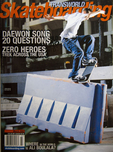 Check-cashin' Kalis on our March 2002 cover. Noseblunt in Philly. Photo / GEE