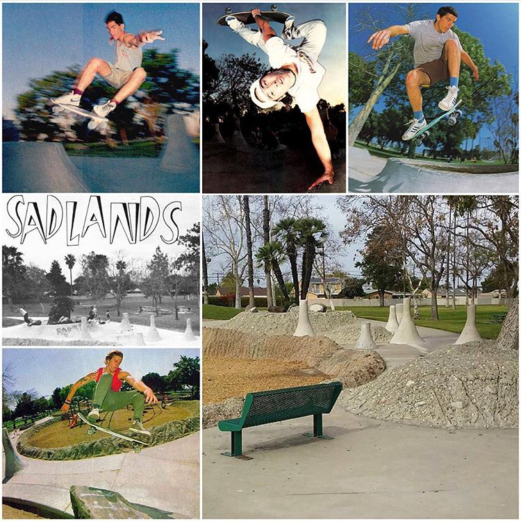 deadhippieMaps 548: @_chattyman recently posted up this present day look at the legendary Sadlands in Anaheim (skated circa '72-'89). From bottom left: @jasonjessee's fs Ollie from Poweredge 1989 (@scruzkeenan), the overview photo from Neil Blender's article (which included @lancemountain's photo resulting in the naming of the Sadplant. Photo: @nblender) TWS Aug. 1983, Blender frontsider by Goodrich, TWS April 86, @lesterkasai invert poster (@jgrantbrittain) June 89, and Blender backside Ollie by @mikivuckovich from Neil's G&S Picasso board ad, TWS Aug. 89. The beloved spot, built to look like the moon, was finally rendered unskateable Nov. 29, 1989. RIP. Brookhurst Park, Anaheim, CA. #skatenerdstarmaps #sadlandsmaps
