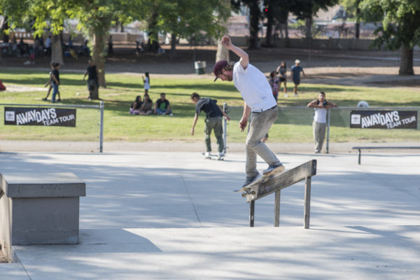 Follow the leader. Silas backs up Miles with a back Smith down the rail.
