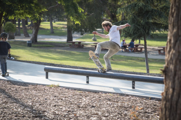 This rail at Lincoln Skate Plaza gets little play, except for when Silas decides to noseblunt slide most of it.