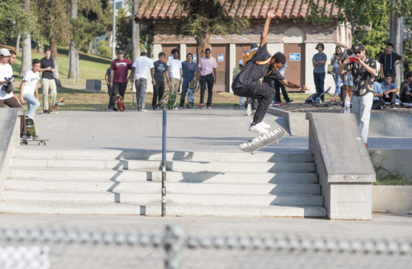 Casual treflip with a backpack on. It's the 90's all over.