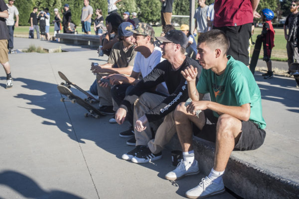 Jake Donnelly and Miles Silvas look on as the skatejam gets serious. Who's getting the cash?