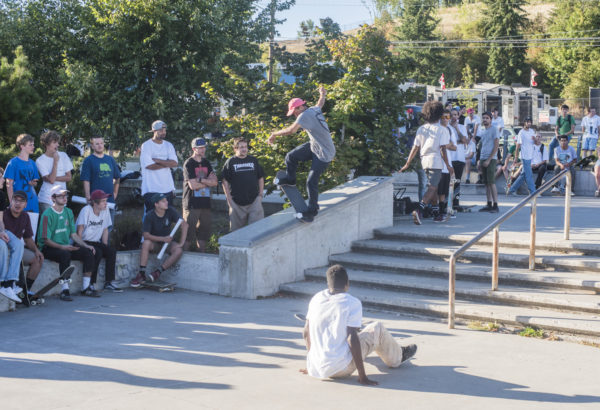 Everyone charged it during the best trick contest on the rail/hubba section.