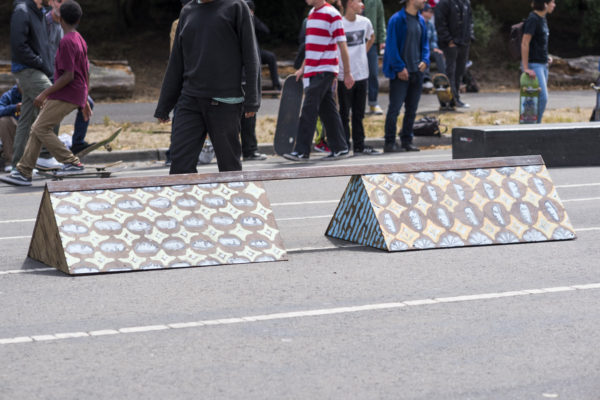 510 in rolled out to the demo with three obstacles. This one may have been the most challenging one to skate.