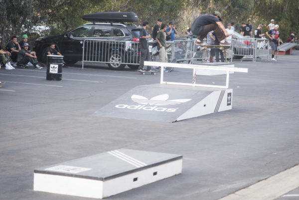 The adidas bar gets boosted with a shifty kickflip.