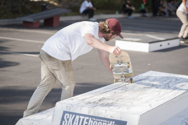 Measure twice, cut once. Silas makes sure the TransWorld feature will grind smoothly.