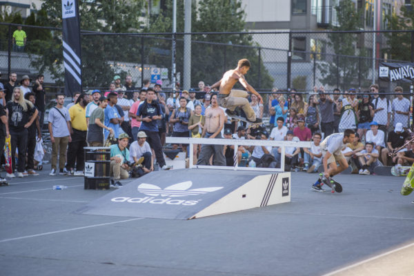 Front three by David Oakley during the best trick jam.
