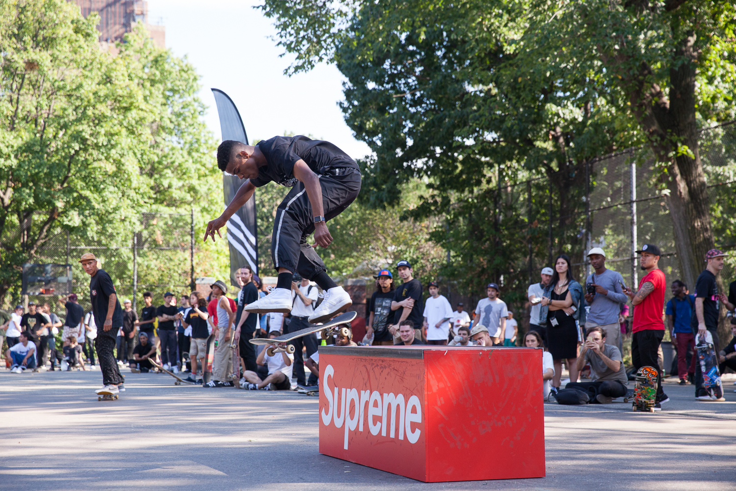 Tyshawn, kickflip backside tailslide on Supreme's box.