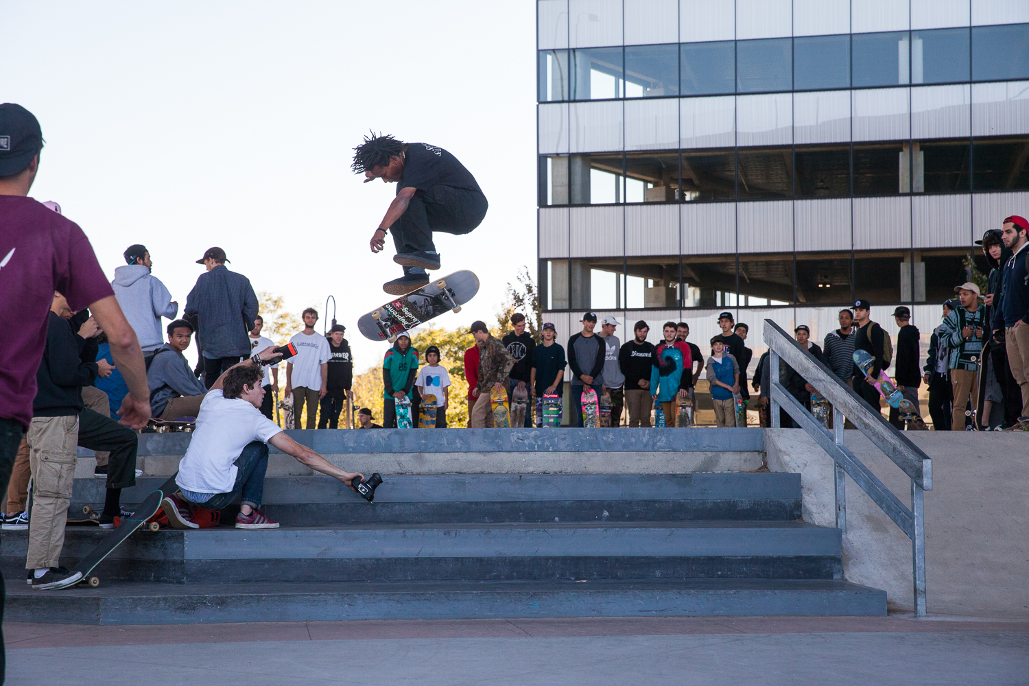 Na-kel nails a nollie hardflip.