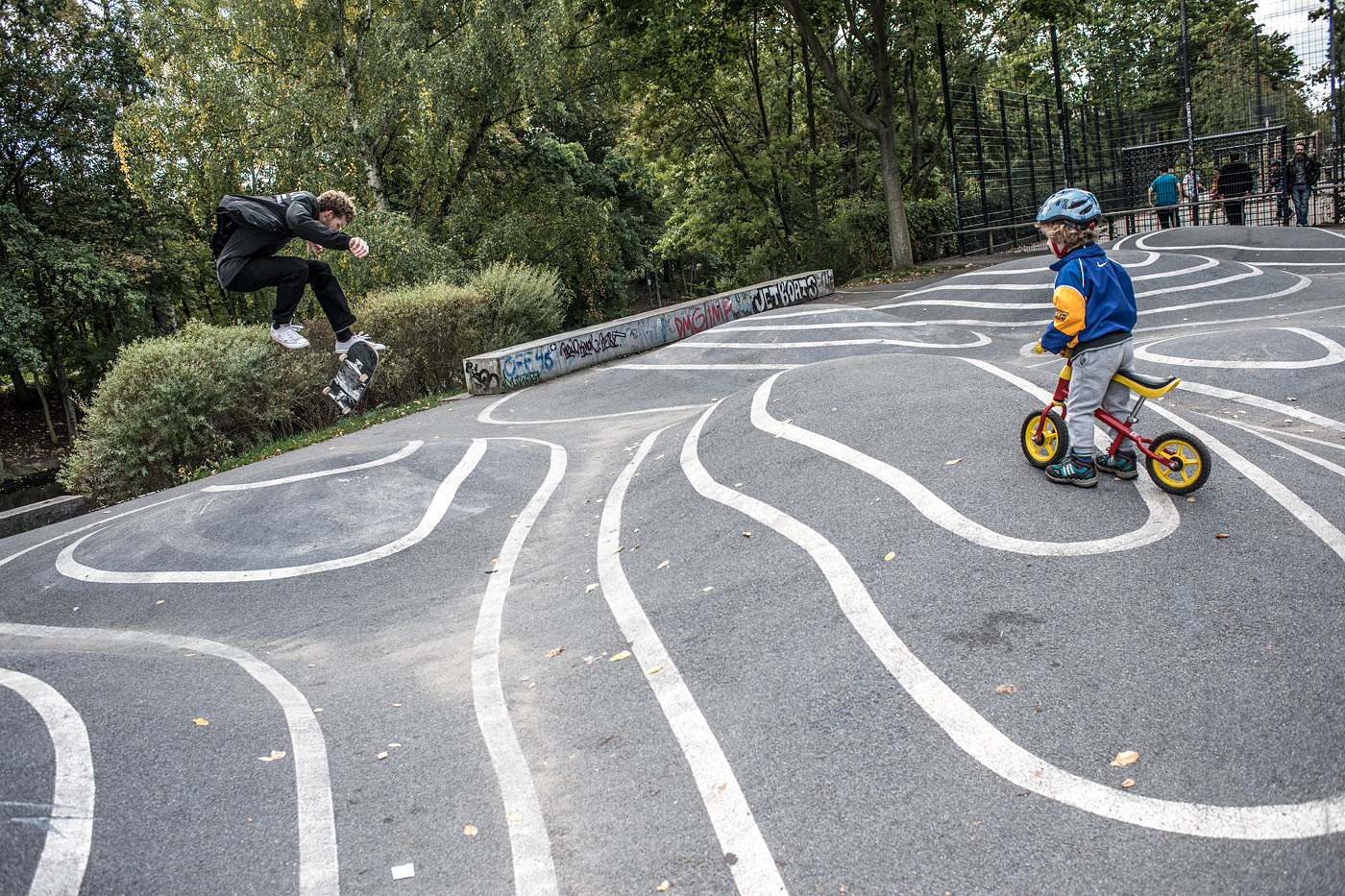 Germany is following suit with the rest of Europe creating multi-use spaces that are not made for skating, but also not not made for skating. This wouldn't exist in America. Conny Mirbach - 360 flip for the children - Alexey Lapin photo