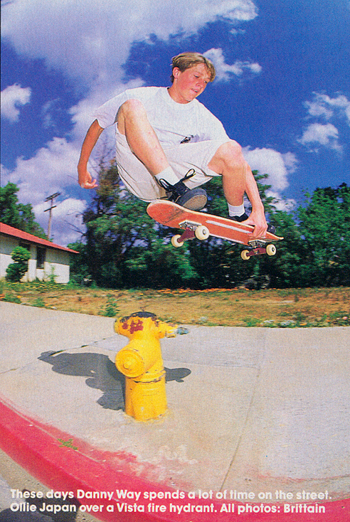 Danny Way Japan over that famous hydrant in Vista. Photo: Brittain. TWS Oct. 91, Vol. 9, No. 10.